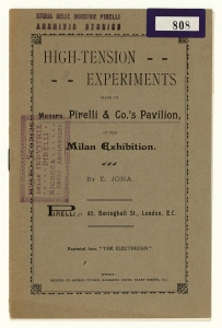 """High - tension experiments made in Messrs. Pirelli & Co.'s Pavilion, at the Milan Exhibition"""