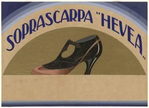 Bozzetto per pubblicità della soprascarpa Hevea Pirelli