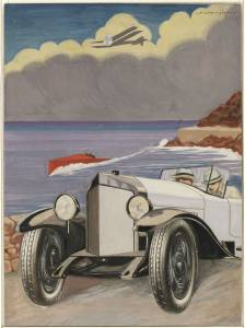 Sketch for the Pirelli Superflex Cord tyre advertising campaign