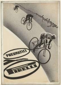 Bozzetto per pubblicità pneumatici Pirelli per bicicletta