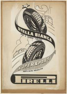 Sketch for Pirelli Stella Bianca and Supersport tyres advertising campaign