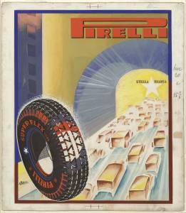 Sketch for Pirelli Superflex Stella Bianca tyre advertising campaign