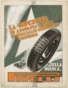 Sketch for the Pirelli Superflex Stella Bianca tyre advertising campaign