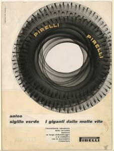 Bozzetto per pubblicità dei pneumatici Anteo e Sigillo Verde Pirelli