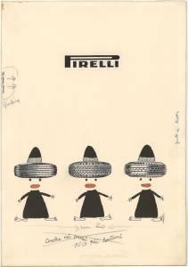 Bozzetto per pubblicità dei pneumatici Rolle, Cinturato e Stelvio Pirelli
