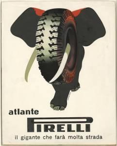 Bozzetto per pubblicità del pneumatico Atlante Pirelli