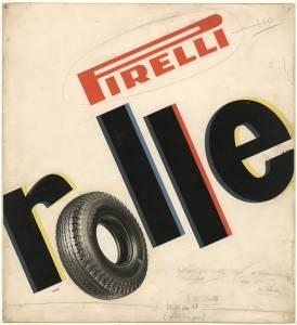 Bozzetto per pubblicità del pneumatico Rolle Pirelli