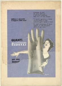 Bozzetto per pubblicità dei guanti per uso casalingo Pirelli