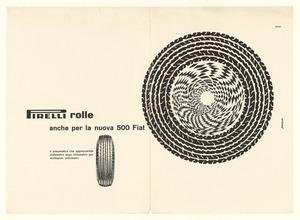 Pubblicità del pneumatico Rolle Pirelli per Fiat 500