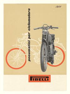 Pubblicità dei pneumatici Pirelli per ciclomotore