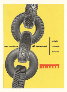 Advertisement for the Pirelli Stelvio, Cinturato and Inverno tyres