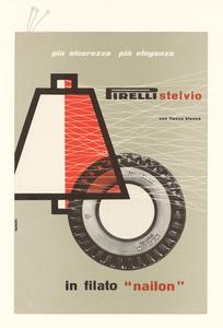 Pubblicità del pneumatico Stelvio Pirelli in filato nailon