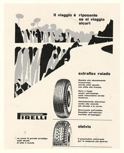 Pubblicità dei pneumatici Extraflex Raiado e Stelvio Pirelli