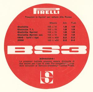 Disco in cartoncino con le pressioni dei pneumatici BS3 per vetture Alfa Romeo