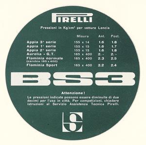 Disco in cartoncino con le pressioni dei pneumatici BS3 per vetture Lancia