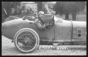 I edizione del Gran Premio d'Italia, disputatasi il 4 settembre 1921 sul Circuito di Montichiari (BS): il pilota Jules Goux insieme al meccanico su automobile Ballot equipaggiata con pneumatici Pirelli. La manifestazione vide la vittoria di Jules Goux su Ballot 3L, seguito da Jean Chassagne su Ballot 3L e Louis Wagner su Fiat 802