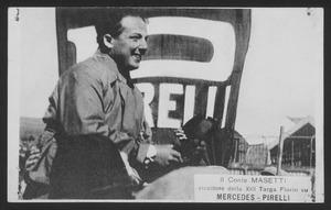 XIII edizione della Targa Florio, disputatasi il 2 aprile 1922 sul medio circuito delle Madonie: il pilota Giulio Masetti al termine della corsa. La manifestazione vide la vittoria di Giulio Masetti su automobile Mercedes Grand Prix 1914 equipaggiata con pneumatici Pirelli, seguito da Jules Goux e Giulio Foresti, entrambi su Ballot 2LS