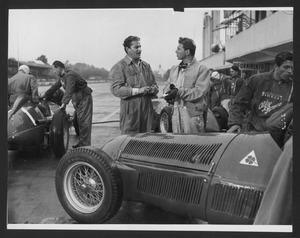 """Riprese del film """"Ultimo incontro"""" all'Autodromo di Monza nel 1951"""